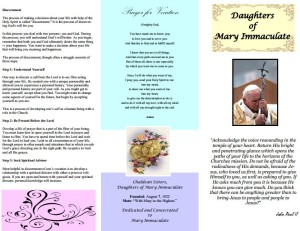 Daughters of Immaculate Mary - Brochure